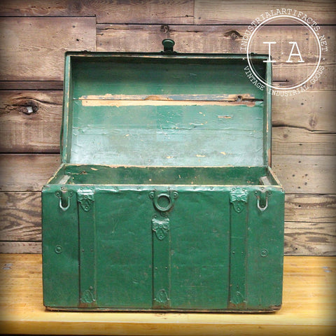 Rustic Green Wooden Steamer Trunk Chest