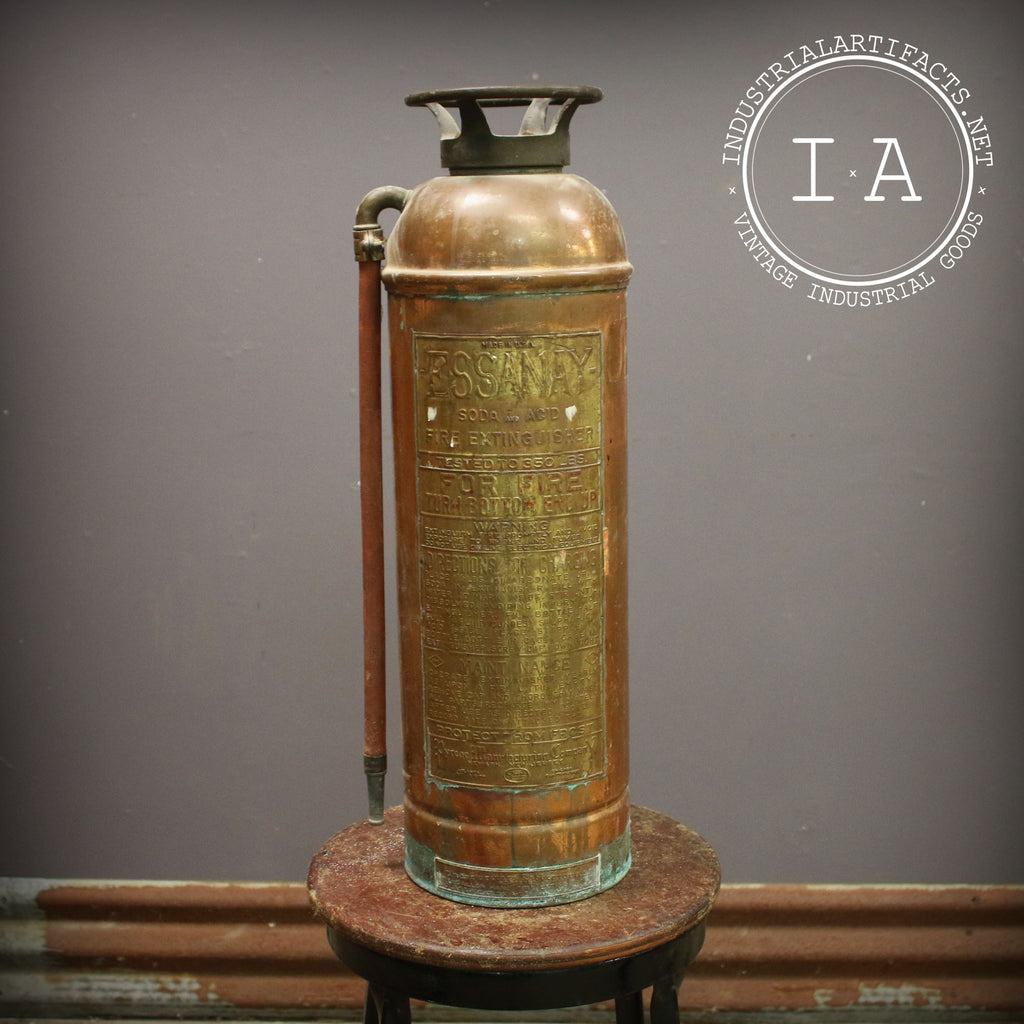 Vintage Industrial Essanay Brass Fire Extinguisher