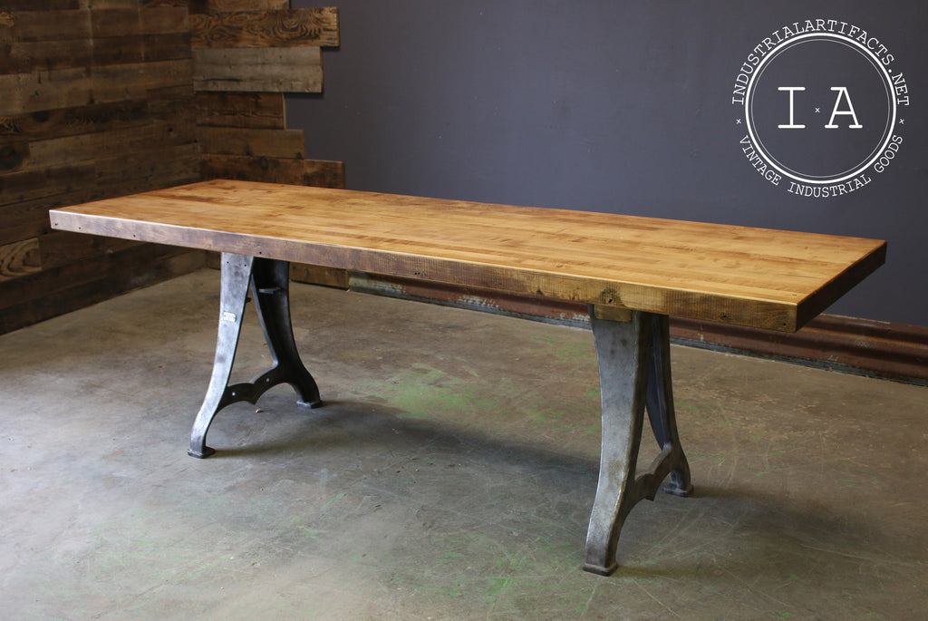 Vintage Industrial Butcher Block Dining Table W/ Antique Cast Iron Machine  Base