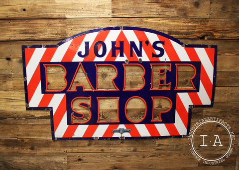 Vintage John's Barber Shop Large Porcelain Enamel Sign by Federal Electric