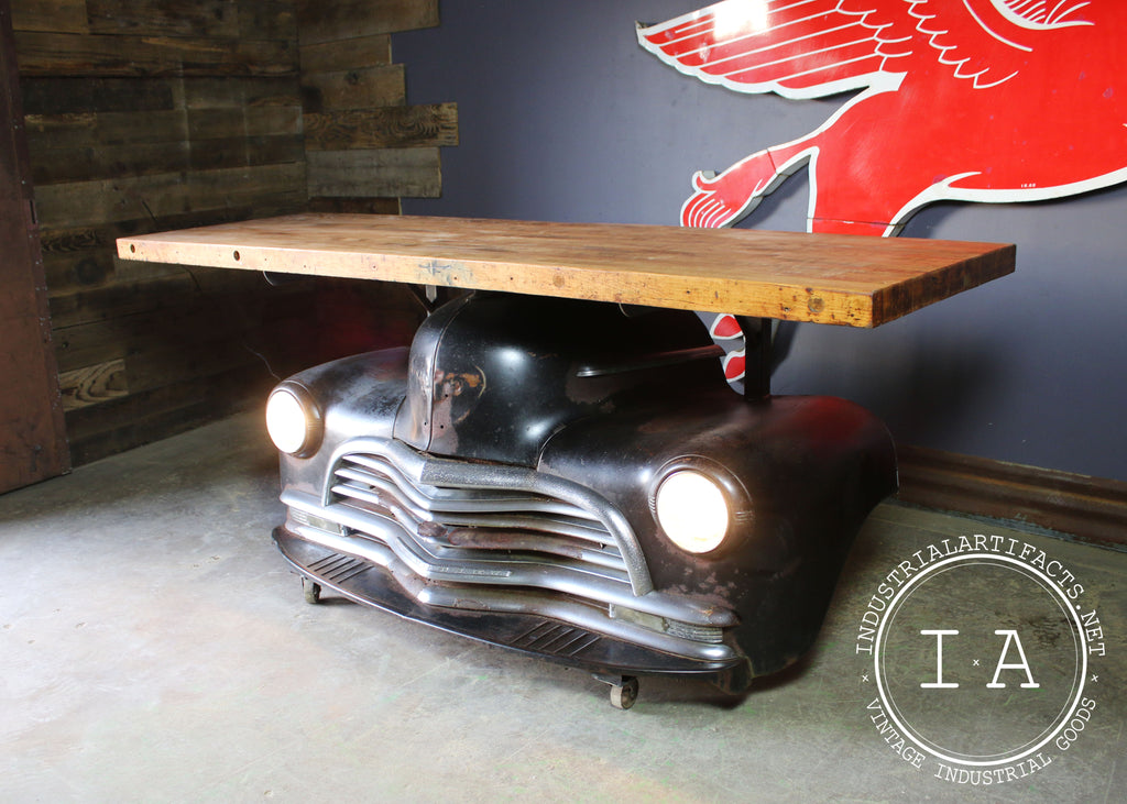 Vintage 1952 Chevrolet Fleetmaster Car Front End Bar Butcher Block Table