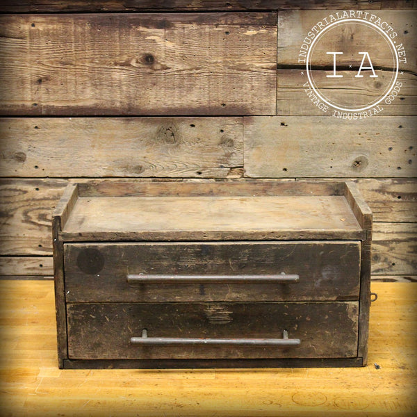 Rustic Wooden 2 Drawer Jewelry Box Cabinet Industrial
