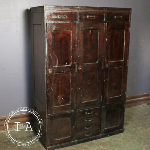 Industrial 3 Door Wooden Storage Locker Bank