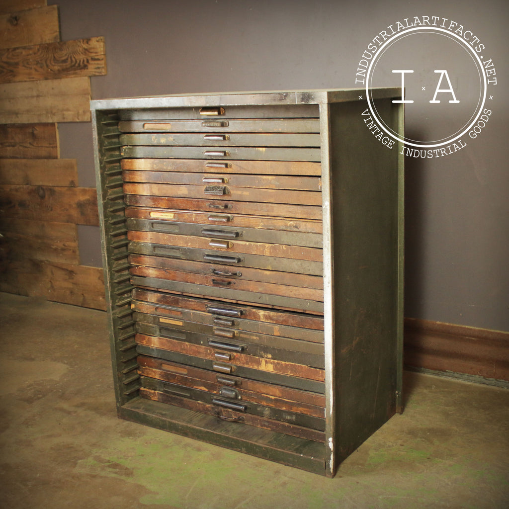 Vintage Industrial 25 Drawer Hamilton Flat File Printers Cabinet