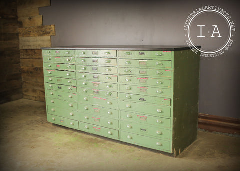 Vintage Industrial 30 Drawer Green Wooden Parts Cabinet Counter