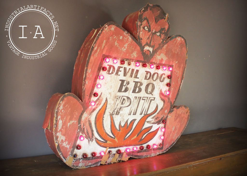 Devil Dog BBQ Barbecue Light Up Advertising Trade Sign