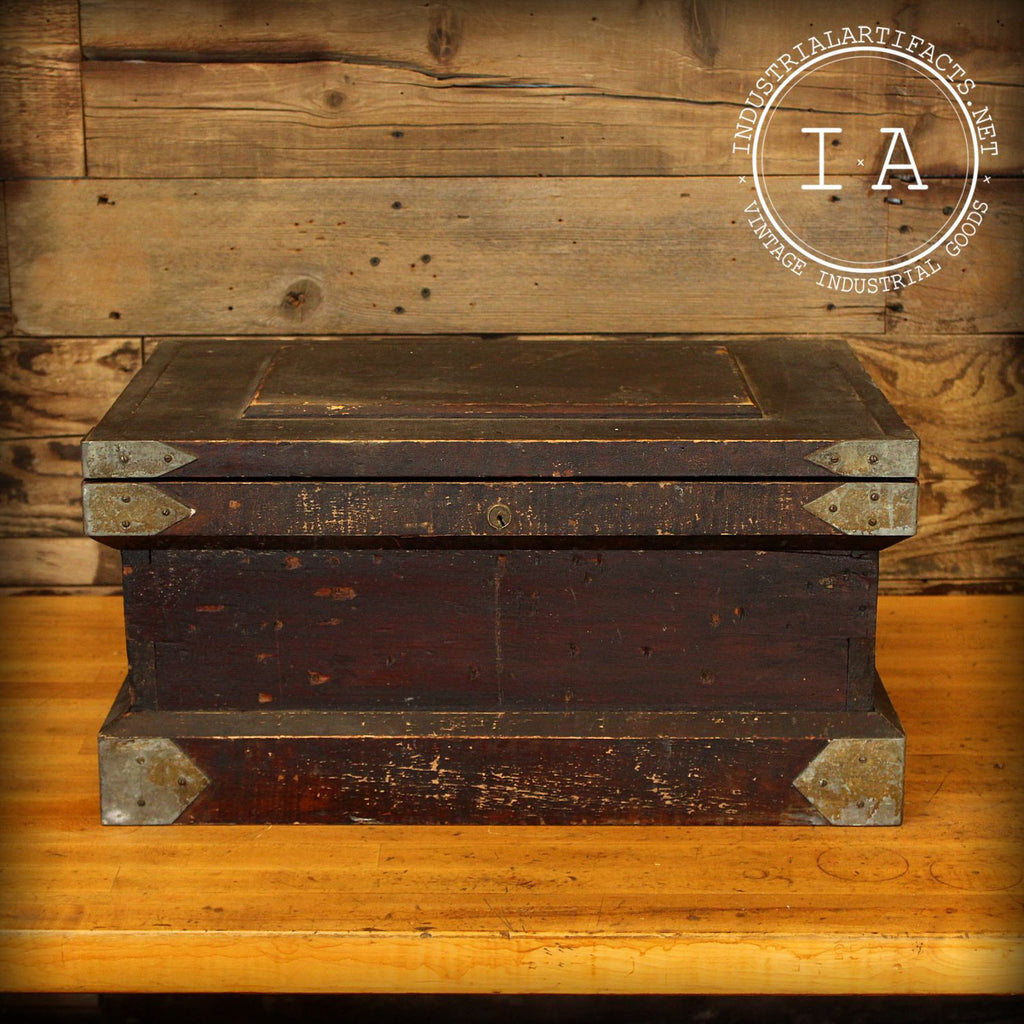 Vintage Industrial Reinforced Wooden Strong Box Tool Box Trunk Chest Jewelry Treasure