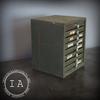 Vintage Industrial Small Steel Eight Drawer Desk Work Bench Organizer Tool Jewelry Box File Label Holders