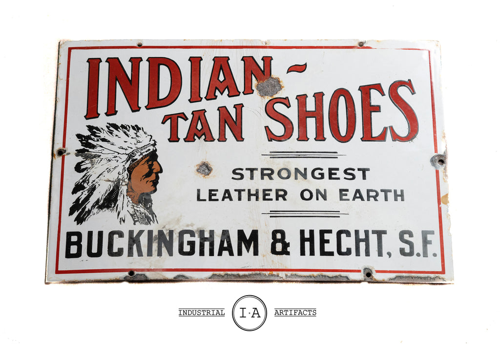 Antique Industrial Indian Tan Shoes Porcelain Enamel Sign