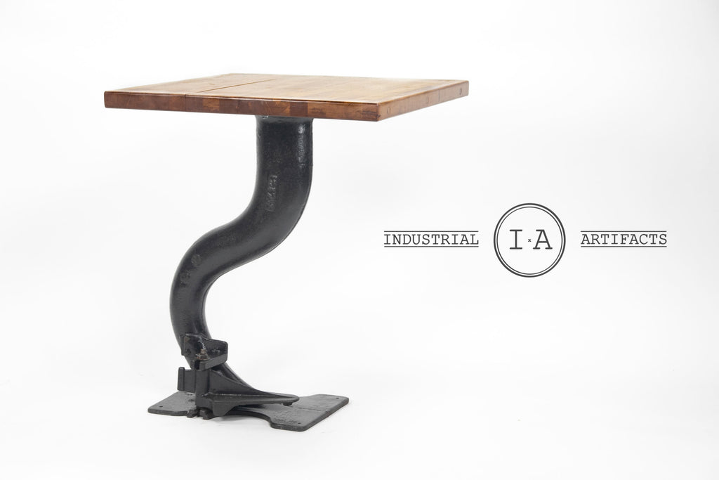 Industrial Cast Iron Machine Base Butchers Block Cafe Table