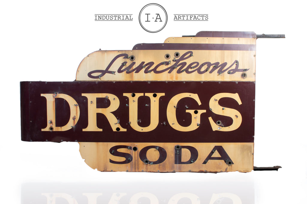 Antique Soda Fountain/Drug Store Sign