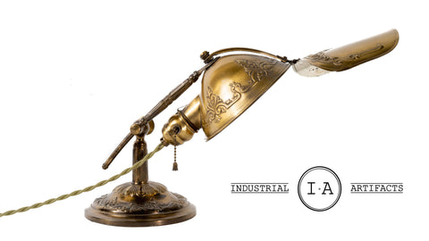 C. 1911 Adjustable Ornate Embossed Brass Desk Lamp by Lyhne
