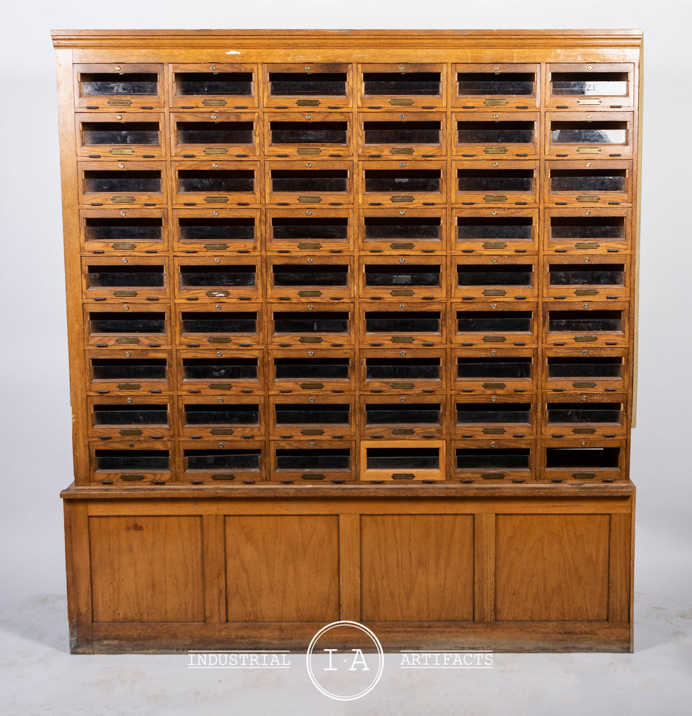 C. 1920 Glass Front 54 Drawer Locking Apothecary Cabinet With Keys