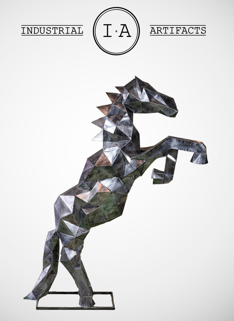 Large Metal Standing Horse Statue