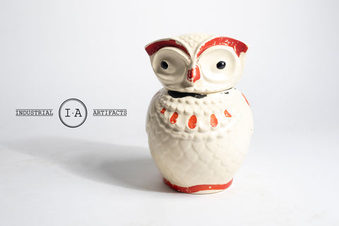 Vintage Hand Painted Bisque Owl Ceramic Cookie Jar