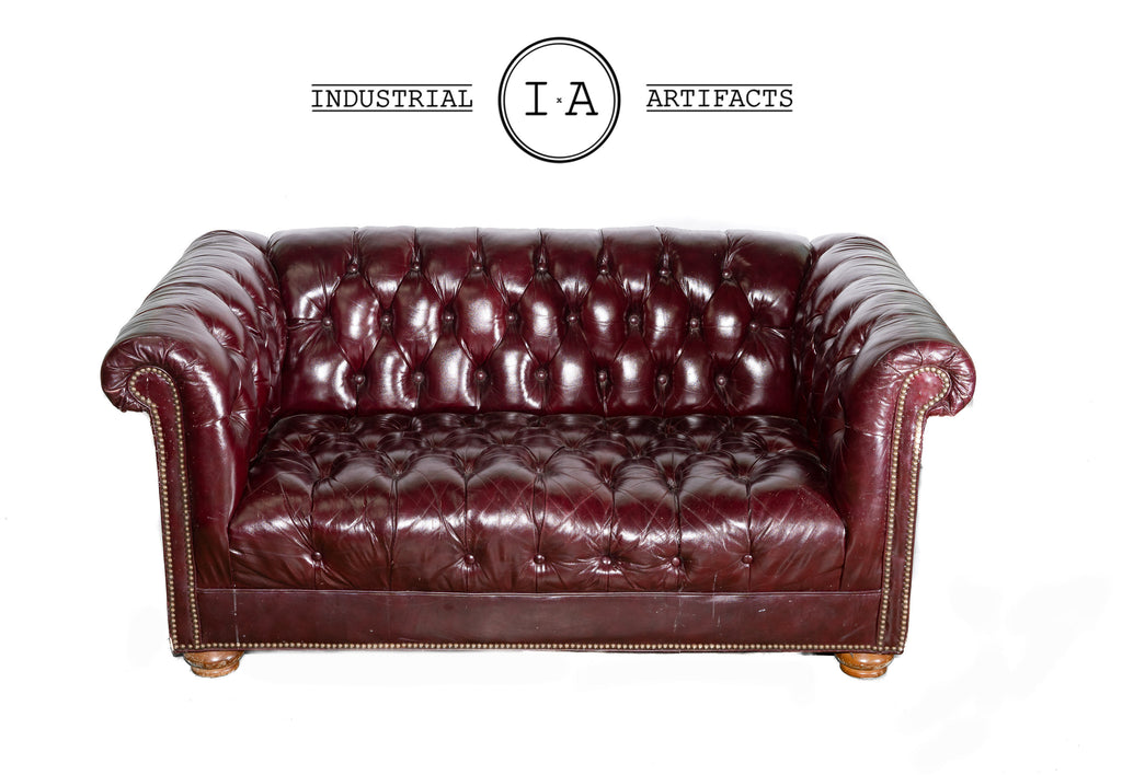 Tufted Leather Oxblood Chesterfield Sofa