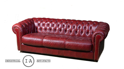 Vintage Tufted Chesterfield Sofa In Oxblood