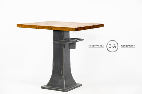 Industrial Butchers Block Pub Table With Cast Iron Base