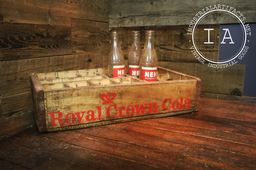 Antique Royal Crown Cola Wooden Soda Bottle Crate
