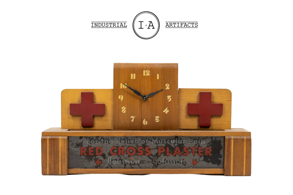 Early American Red Cross Reverse Painted Lighted Glass Clock