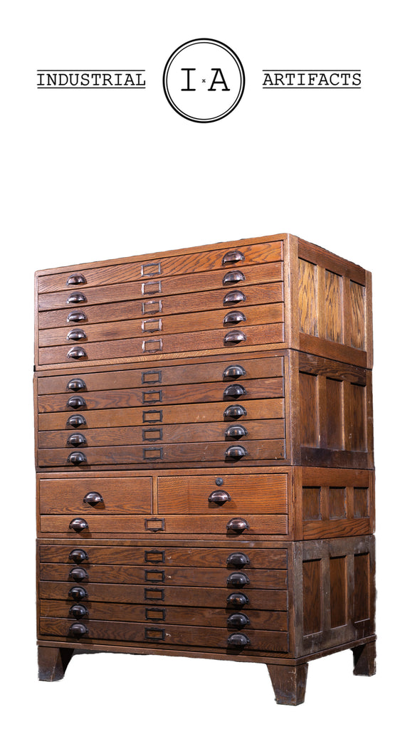 Early 20th Century Four Section Executive Flat File Cabinet