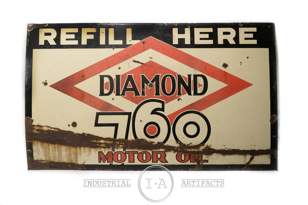 C. 1930 Diamond 760 Motor Oil Single Sided Porcelain Enamel Sign
