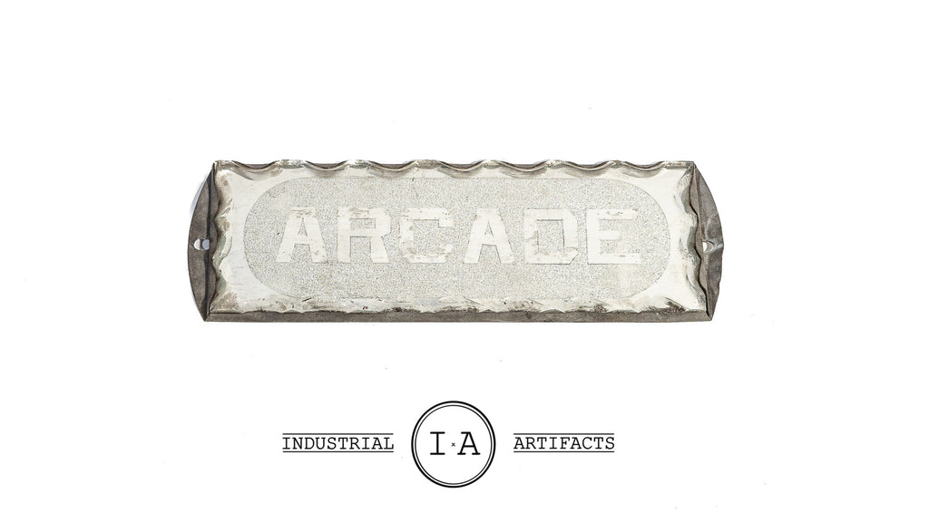 Antique Scalloped Glass Foil Back Arcade Sign