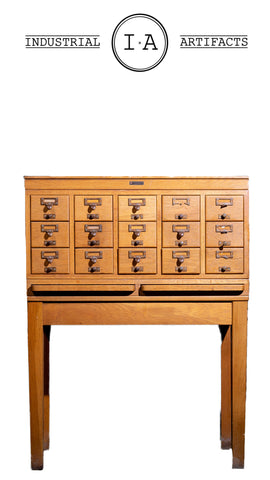 Antique Standing Librarian Card Catalogue With Writing Desks By Gaylord Bros.