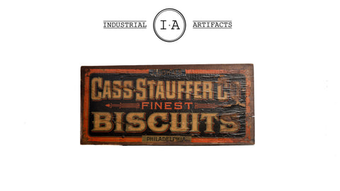 Early American Lithographic Wooden Biscuits Sign