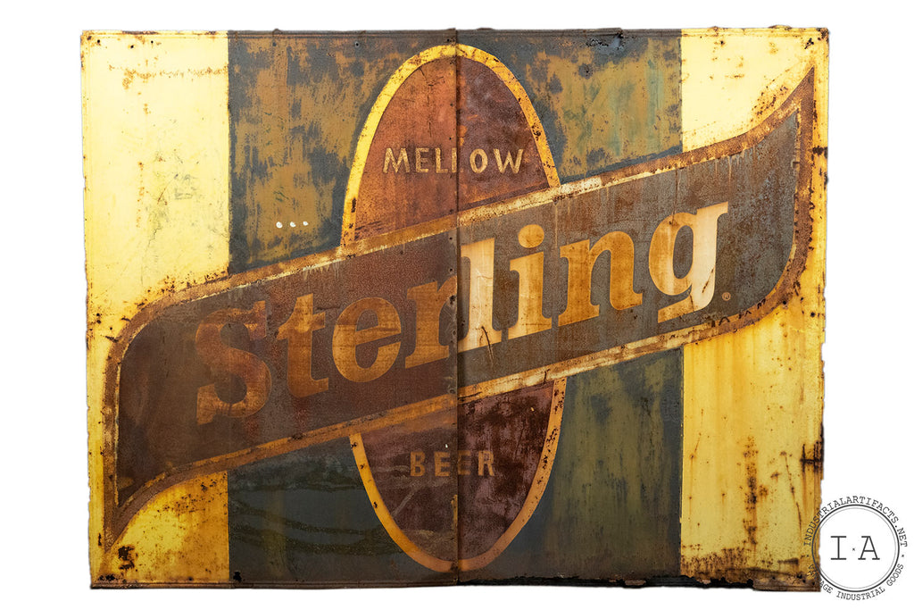 Huge Antique Sterling Beer Two Piece Metal Sign
