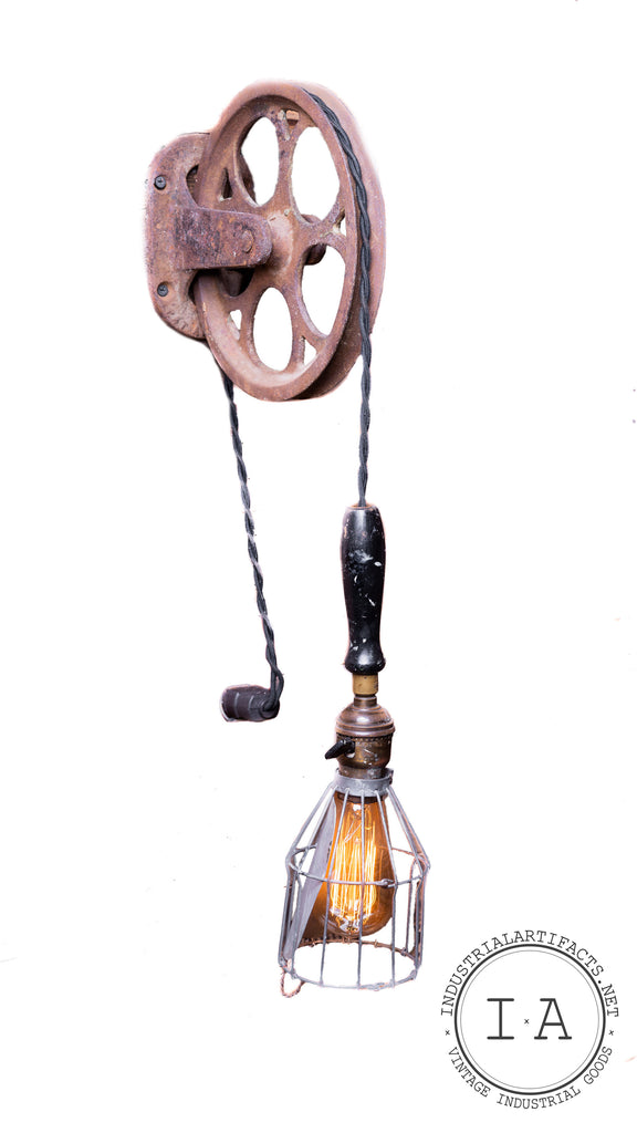 Antique Industrial Task Lamp With Cast Iron Pulley