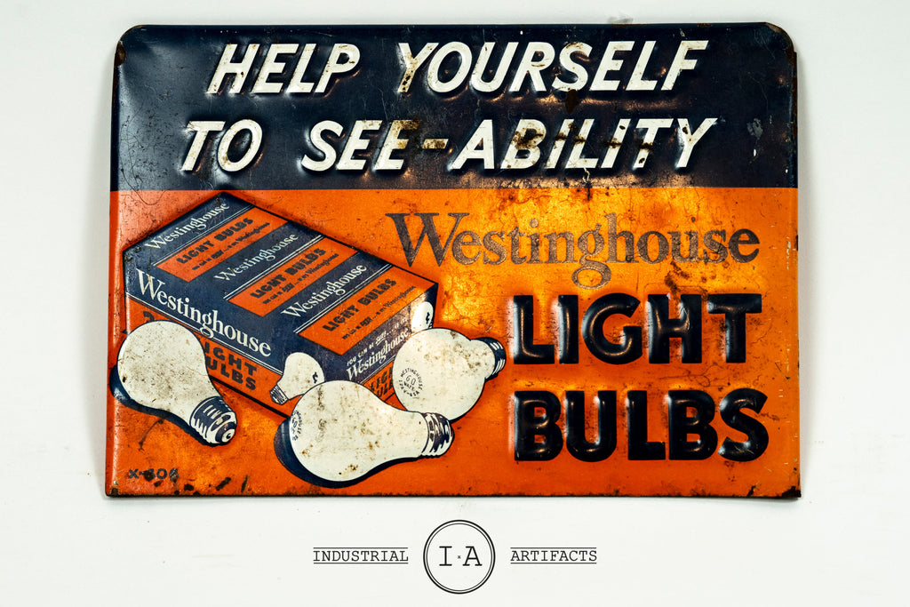 Antique Westinghouse Light Bulbs Embossed Tin Rack Sign