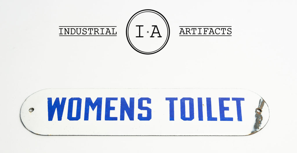 C. 1930s Single Sided Porcelain Flush Mount Women's Restroom Sign