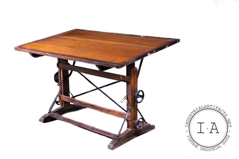 Turn Of The Century Wood And Cast Iron Drafting Table