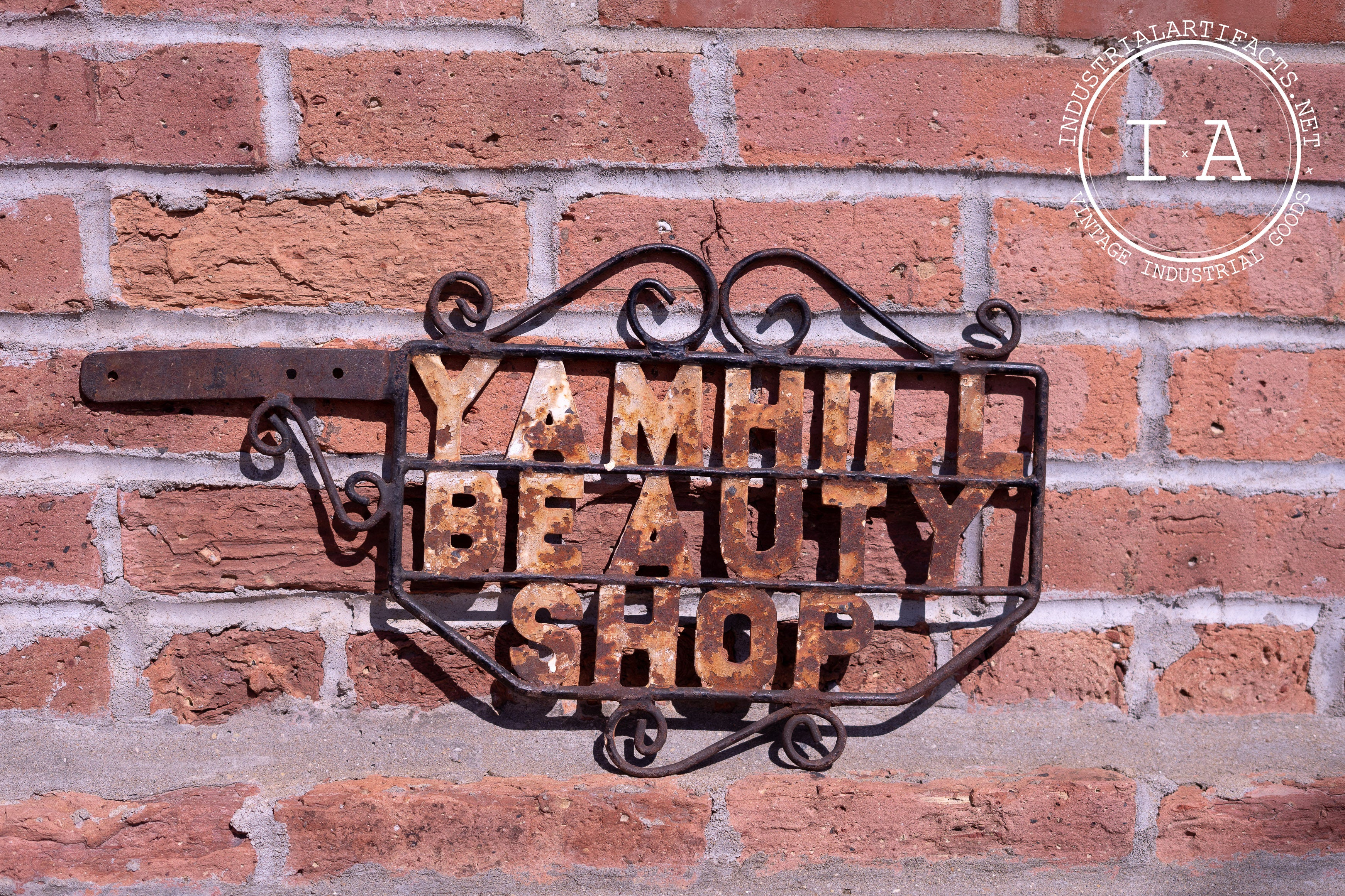 Early 20th Century Cast Iron Beauty Shop Flange Sign