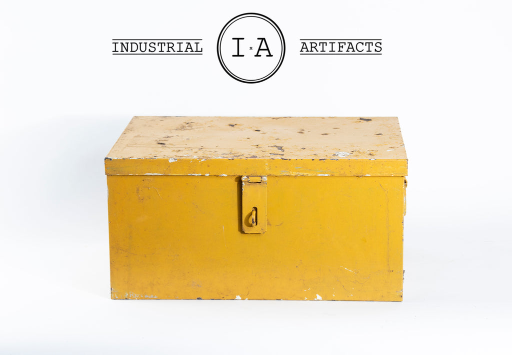 Vintage Latching Aluminum Tool Box in Yellow