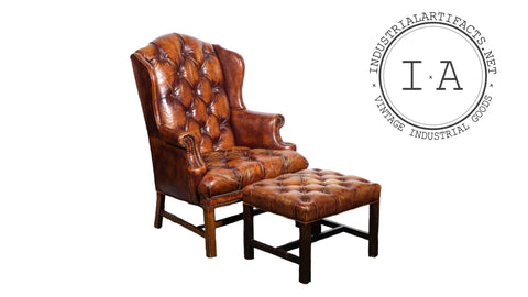 Tufted Leather Armchair With Matching Ottoman in Burnt Amber