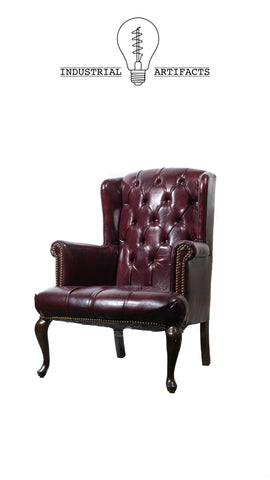 Vintage Tufted Wingback Chairs in Oxblood