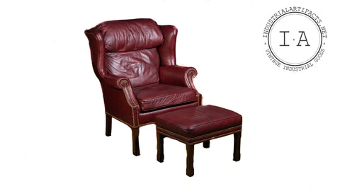 Wingback Leather Armchair With Ottoman In Burgundy