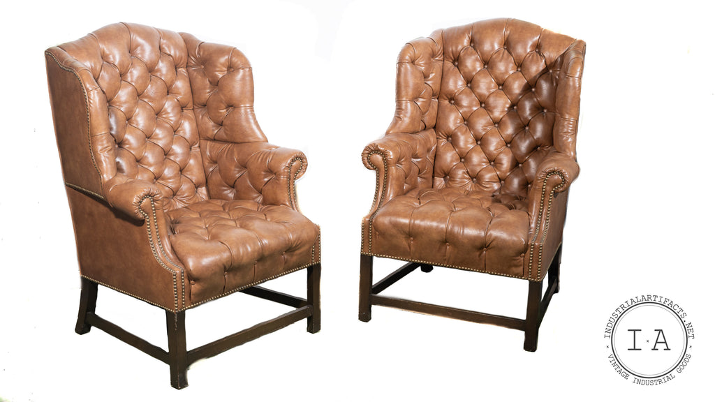 Vintage Tufted Leather Wingback Armchairs in Burnt Amber