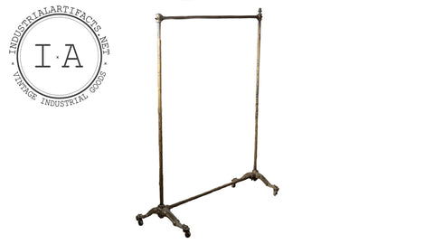 Antique Ornamental Rolling Garment Rack