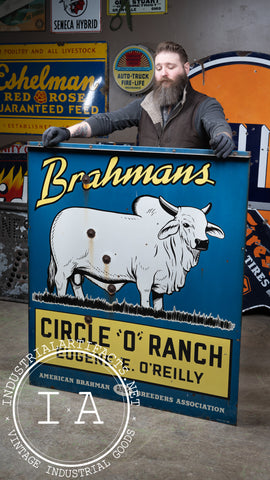 Antique Double Sided Porcelain Brahmans Cattle O'Reilly Farm Sign