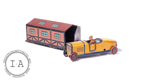 Pre War German Tin Car and Garage Set By CKO Kellerman