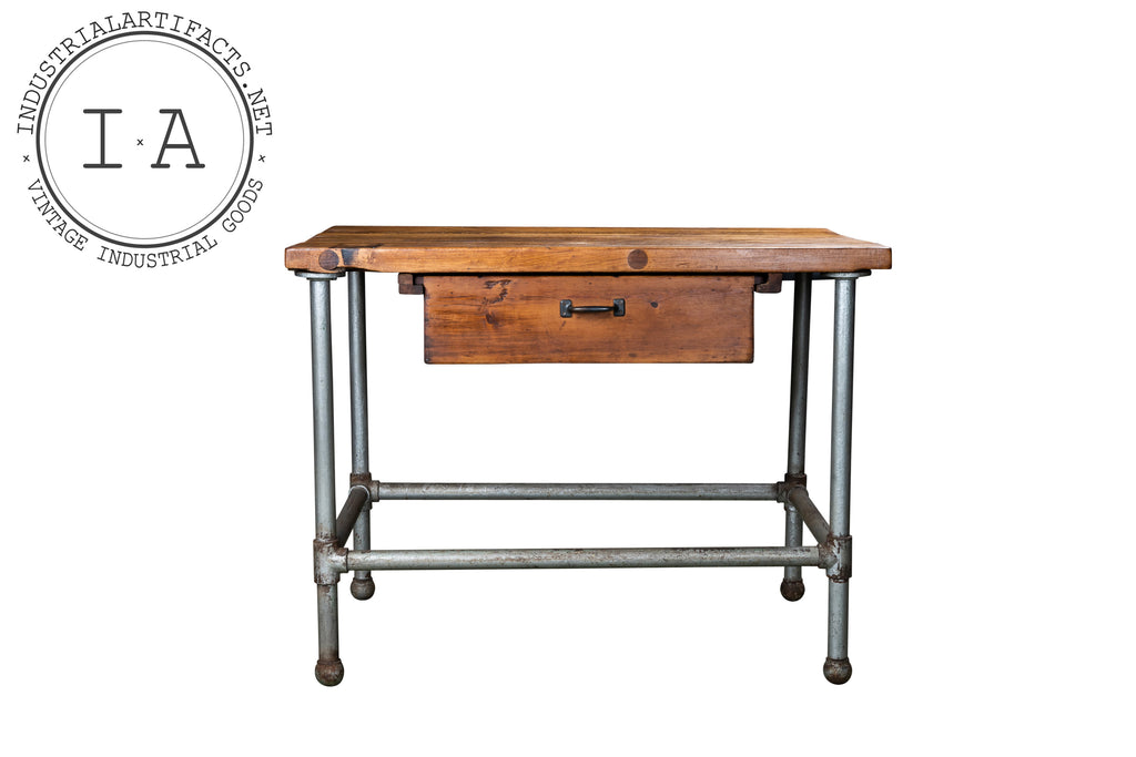 Vintage Industrial Butcher Block Island Table With Drawer