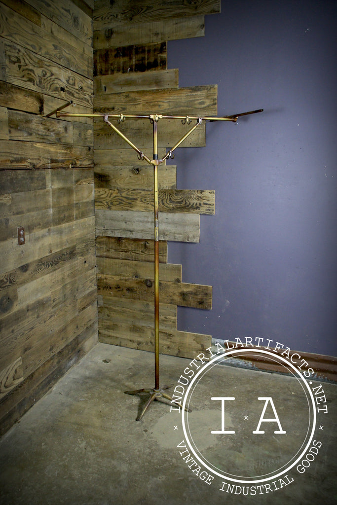 Antique Industrial Brass Folding Coat Rack