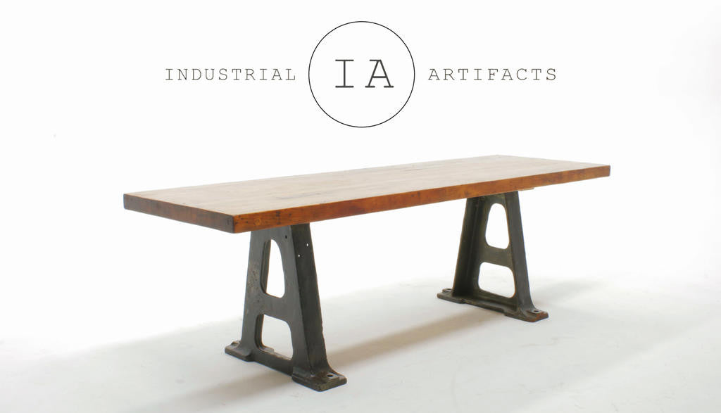 industrial butcher block w early cast iron machine base dining table