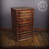 Vintage Industrial 11 Drawer Wooden Print Cabinet Parts Cabinet