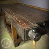 Vintage Industrial Wooden Mahogany Cabinet Makers Woodworker Workbench