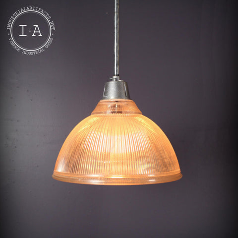 Vintage Industrial Holophane Gas Station Pendant Light