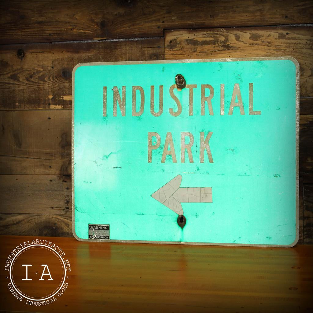 Vintage Industrial Park Reflective Street Sign City Of Ripon